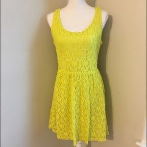 Dresses & Skirts - 💛Bright Yellow Lace Cut Out Dress💛